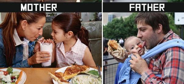 10 foto che mostrano la differenza tra mamma e papà