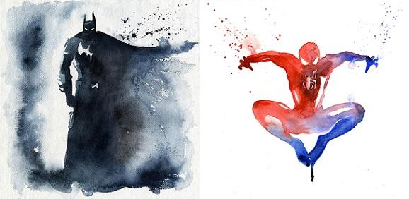 I supereroi dipinti con gli acquerelli