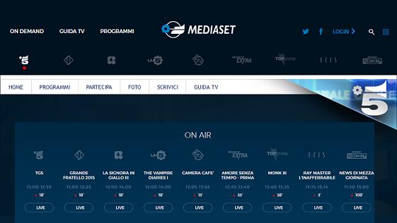 Mediaset: da oggi è possibile vedere tutti i canali in diretta sul PC
