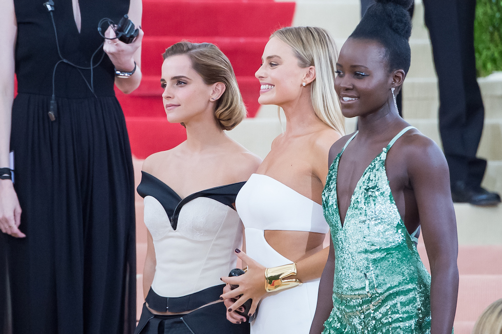 Emma Watson, Margot Robbie e Lupita Nyong'o (Mark Sagliocco/Getty Images)