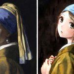 Famosi dipinti ridisegnati come  se fossero degli Anime