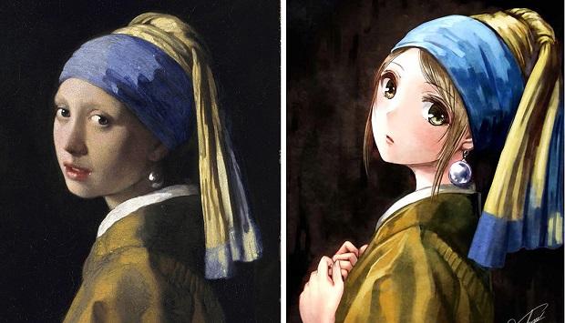 Famosi dipinti ridisegnati come se fossero degli Anime ...