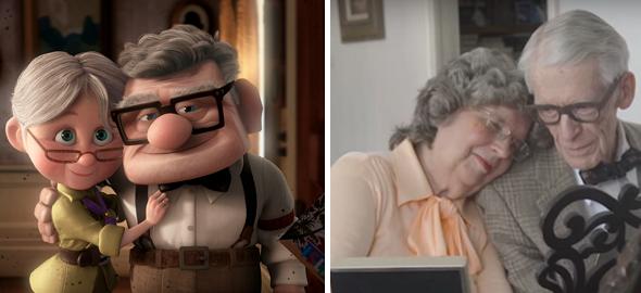 Una coppia di Nonni ricrea le scene del film Pixar UP